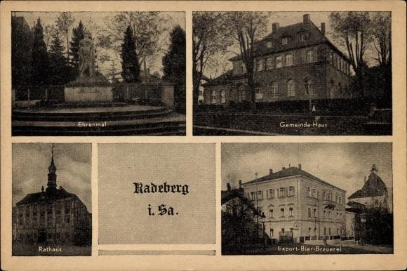 Ak Radeberg im Kreis Bautzen Sachsen, Ehrenmal, Rathaus, Export Bier Brauerei