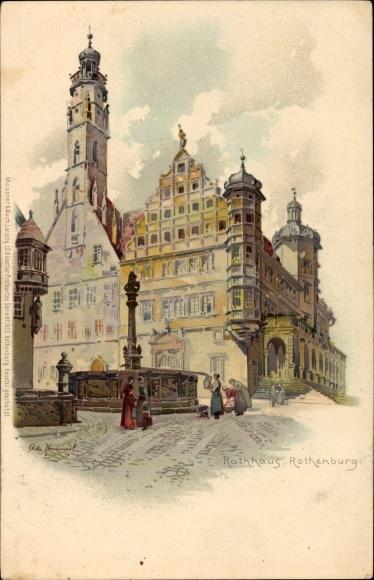 Künstler Litho Hammel, Otto, Rothenburg ob der Tauber Mittelfranken, Blick auf Rathaus