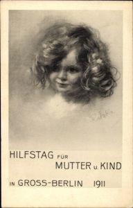 Künstler Ak Ratzka, Berlin Mitte, Portrait von einem Mädchen, Hilfstag für Mutter und Kind 1911