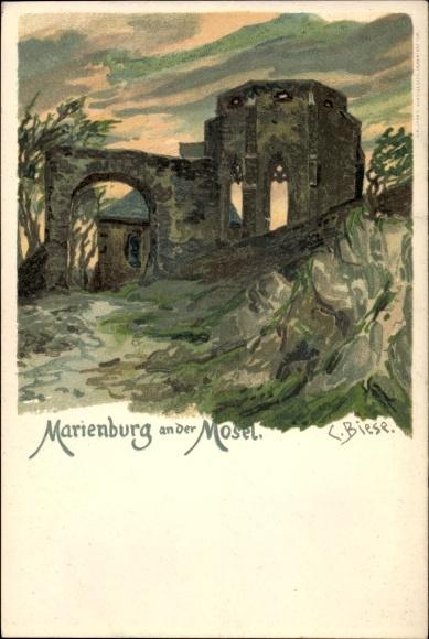Künstler Litho Biese, C., Marienburg an der Mosel Zell, Ruinen