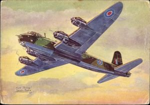 Künstler Ak Petit, Louis, Britisches Militärflugzeug Short Stirling, Avions alliés, Bombardier lourd