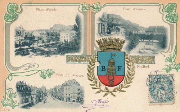 Präge Wappen Ak Belfort, Place d'école, Place d'armes, Place de Bascule