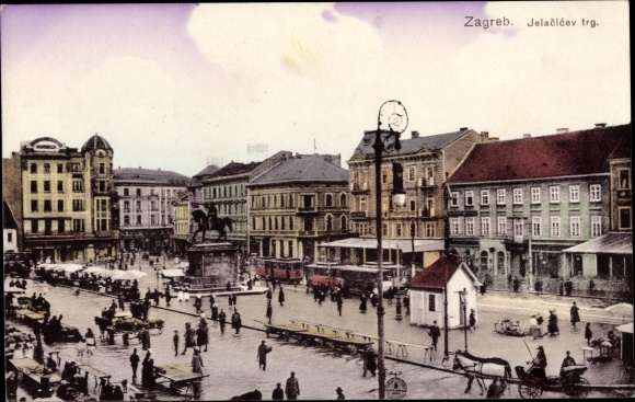 Ak Zagreb Kroatien, Jelacicev trg, Marktplatz, Reiterdenkmal