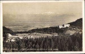 Ak Saint Cergue Kt. Waadt, Les Hotel et le Mont Blanc, Alpenpanorama