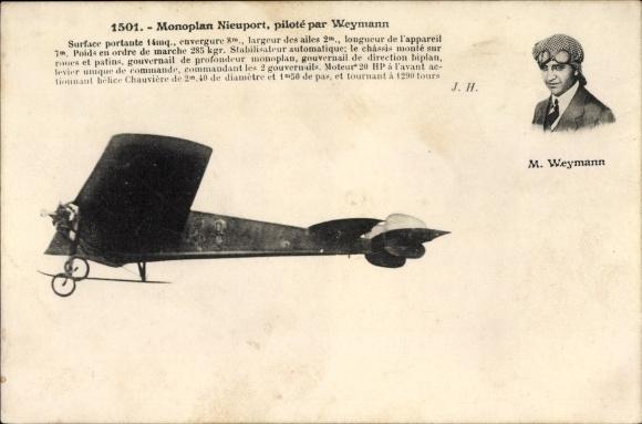 Ak Monoplan Nieuport, piloté par Weymann, Pilot, Flugpionier