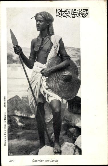 Ak Guerrier soudanais, Sudanesischer Krieger, Junger Mann mit Lanze und Schild