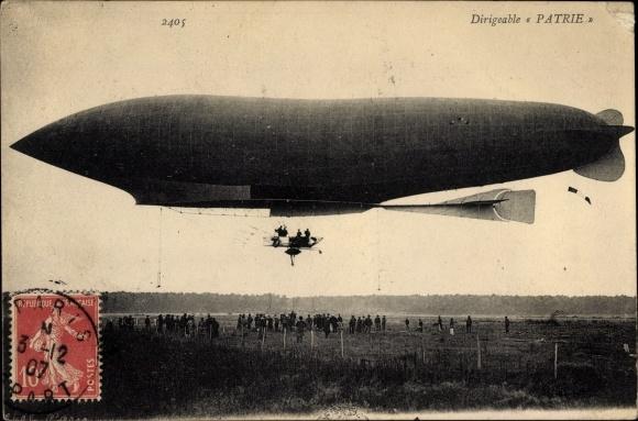 Ak Aérostation Militaire, Dirigéable Patrie, MM. Lebaudy, Französisches Luftschiff
