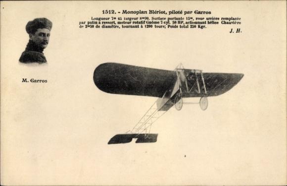 Ak Monoplan Blériot, piloté par Garros, Pilot, Flugpionier