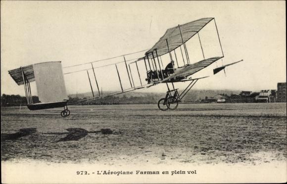Ak L'Aeroplane Farman en plein vol, Biplan, Flugzeug hebt ab, Pilot, Flugpionier