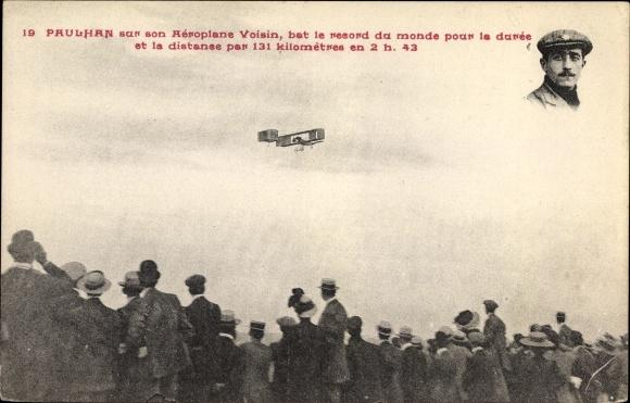 Ak Paulhan sur son Aéroplane Voisin, bat le record du monde, Pilot, Flugpionier