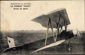 Ak Aérodrome du Bourget, Le Farman David, Avion de sport, Sportflugzeug, Biplan