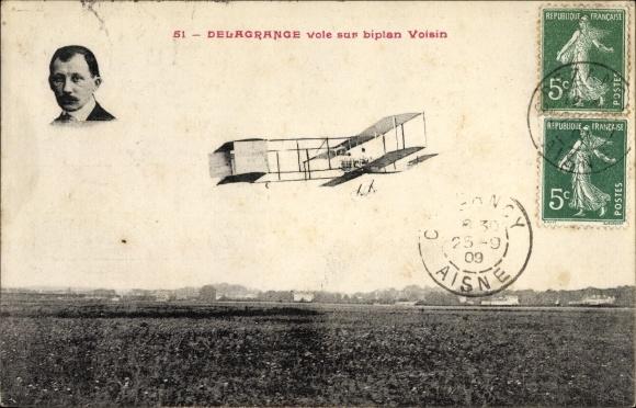 Ak Delagrange vole sur biplan Voisin, Aéroplane, Biplan, Aviateur, Pilot, Flugpionier