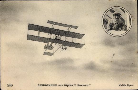 Ak Legagneux sur Biplan H. Farman, Aviateur, Aéroplane, Pilot, Flugpionier