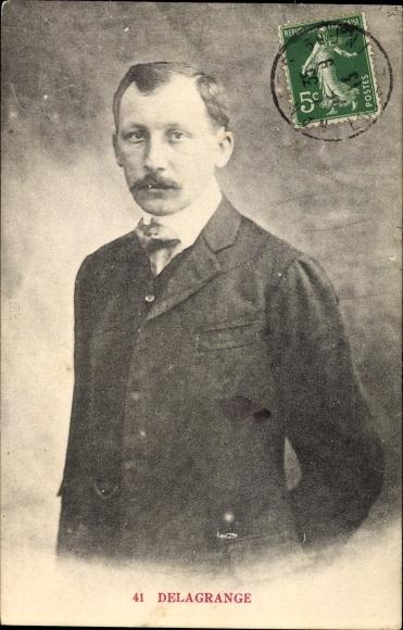 Ak Léon Delagrange, Pilot, Flugpionier, Portrait