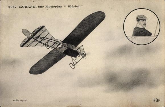Ak Léon Morane sur Blériot, Aviateur, Monoplan, Flugzeug, Luftfahrtpionier