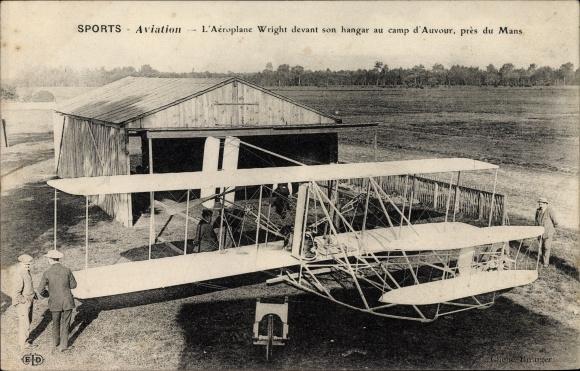 Ak Sports d'Aviation, L'Aéroplane Wilbur Wright devant son hangar, Camp d'Auvour, Flugpionier