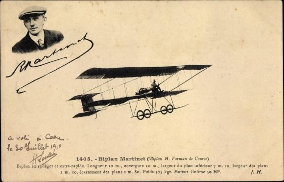 Ak Biplan Martinet, Henri Farman de Course, Aviateur, En plein vol, Pilot, Flugpionier