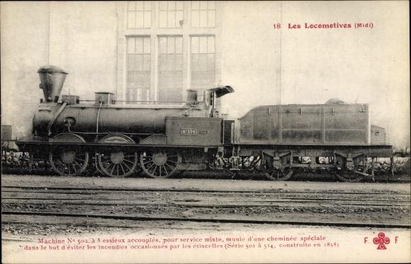 Ak Französische Eisenbahn, Dampflokomotive, Chemin de fer, No 509, Tender
