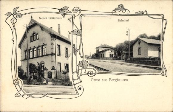 Passepartout Ak Berghausen Pfinztal, Bahnhof, Neues Schulhaus