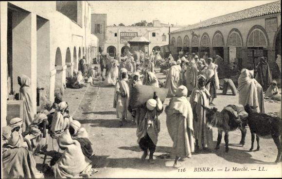 Ak Biskra Algerien, Le Marché, Einheimische auf dem Markt, Esel