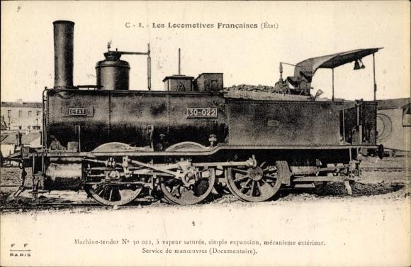 Ak Französische Eisenbahn, Locomotives Francaises, Etat, Machine No. 30 022