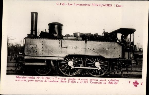 Ak Les Locomotives Francaises, Etat, Machine Tender No. 21 687