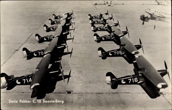 Ak Serie Fokker C 10 Soesterberg, Niederländische Kampfflugzeuge