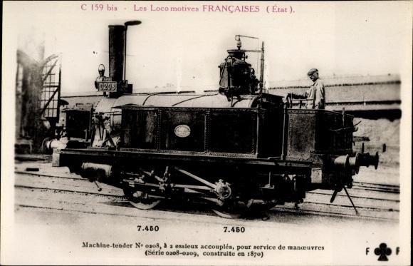 Ak Französische Eisenbahn, Les Locomotives Francaises, Etat, Machine No. 0208