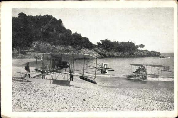 Ak Monaco, Meeting d'Hydroaéroplanes, Arrivée de Caudron sur Caudron-Fabre, Flugpioniere