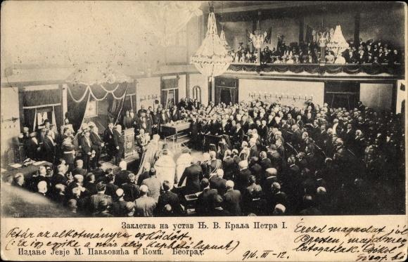 Ak Belgrad Beograd Serbien, Treueschwur König Peter I. von Serbien, I. WK