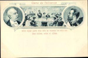 Künstler Ak Russland, Staatspräsident Félix Faure, Zar Nikolaus II., Staatsbesuch Oktoker 1897