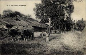 Ak Vietnam, Une Ferm Annamite, Bauer und Ochsen bei der Arbeit