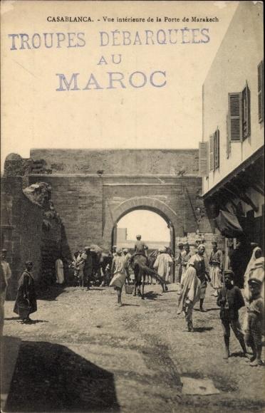 Ak Casablanca Marokko, Vue Interieure de la Porte de Marakech