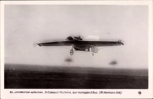 Ak Locomotion Aérienne, R. Esnault-Pelterie, Monoplan à Buc, 25 Novembre 1908, Flugpioniere