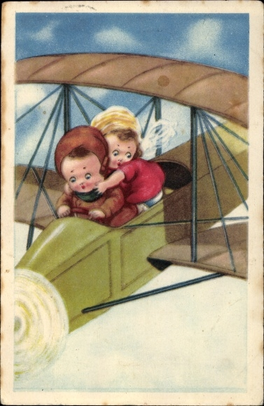 Künstler Ak Junge und Mädchen in einem Flugzeug, Doppeldecker, Amag 098