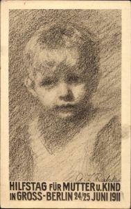 Künstler Ak Berlin, Hilfstag für Mutter und Kind 24. Juni 1911, Portrait von einem Jungen