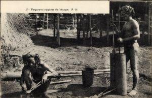 Ak Annam Vietnam, Forgerons indigenes, Einheimische Schmiede bei der Arbeit
