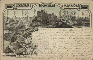 Vorläufer Litho Küssnacht Kt. Schwyz, Schreiber's Hotel's, Rigi Kulm, Hotel und Pension Rigi Staffel