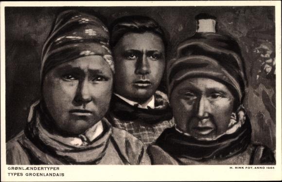 Künstler Ak Grönland, Grönländer Volkstypen, Portrait, Gronlaenderstypen