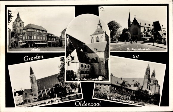 Ak Oldenzaal Overijssel Niederlande, Markt, St. Antoniuskerk, St. Plechelmusbasiliek, NH Kerk