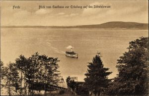 Ak Ferch Schwielowsee, Blick vom Gasthaus zur Erholung auf See mit Salondampfer, C. Schmidt