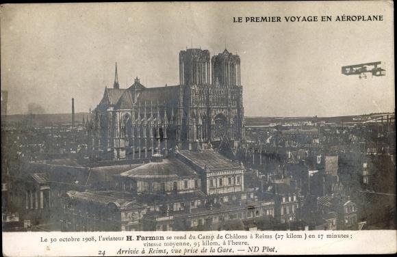 Ak Reims Marne, Le Premier voyage en Aéroplane, Octobre 1908, Henri Farman, Camp de Châlons