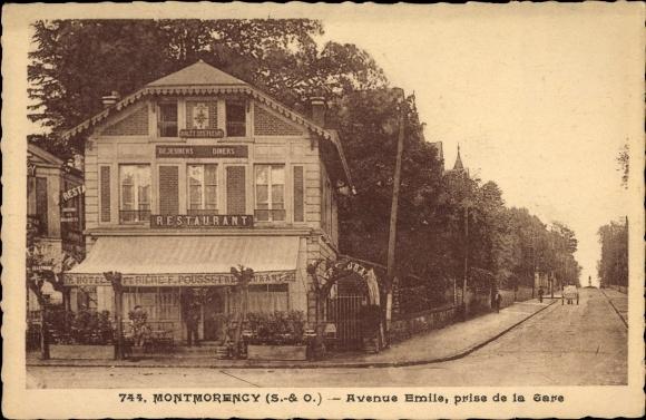 Ak Montmorency Val d'Oise Frankreich, Avenue Emilie, prise de la gare