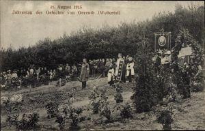 Ak Neubois Gereuth Weilertal Elsass Bas Rhin, Jahrestag des Gefechts, 18. August 1915