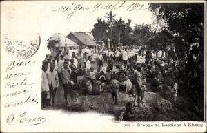 Ak Khong Laos, Groupe de Laotiens, Laoten, Gruppenportrait