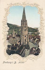 Präge Passepartout Ak Freiburg im Breisgau Baden Württemberg, Blick auf das Münster