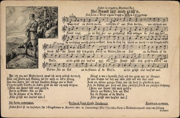 Lied Ak Soph, Hans, Mei Hamit läßt mich grüß'n, Lieder in erzgebirgischer Mundart Nr 1, Wanderer
