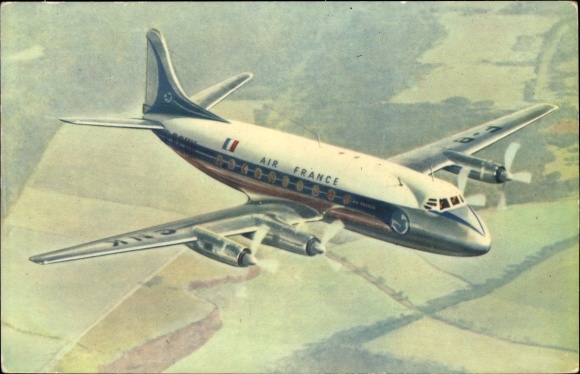 Ak Air France, Vickers Viscount, Propellermaschine im Flug, Passagierflugzeug