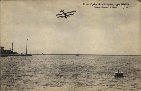 Ak Hydravion Bréguet, type HI-U3, Moteur Salmson, Wasserflugzeug, Flugpioniere