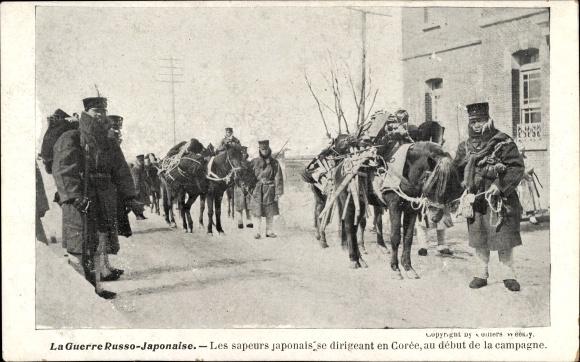 Ak Russisch Japanischer Krieg, Sapeurs japonais se dirigeant en Corée, Japaner in Korea